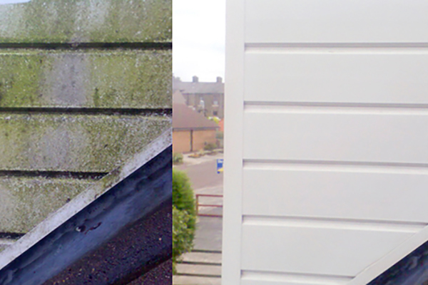 picture of before and after a cladding cleaned